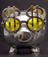 Chrome Piggy Bank with Dollar Signs