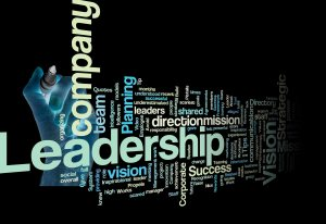 Leadership vision mission strategy concept background on white